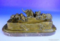 0F019 Lányi Dezső : Állatok az itatónál bronz 1922
