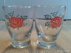 2 db rózsás likőrős pohár
