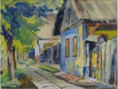 0E260 Tar Zoltán : Falusi utca akvarell 1978