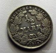 1/2 német márka 1918 ezüst nagyon szép