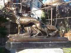 Agarak-vadászkutyák bronz-szobor márványtalpon Nagyméret !