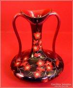 Zsolnay füles váza kéttüzű színes eozin Gyönyörű darab