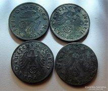 4 darab II. világháborús német birodalmi pfenniges
