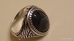 Ezüst achát köves pecsétgyűrű 925.