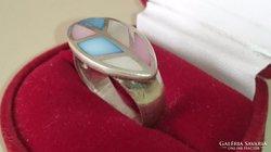 Ezüst gyűrű 3 színű gyöngyházberakással