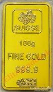 Svájci 100 grammos arany tömb replika