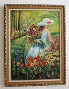 Angelica virágoskertje - 50 x 70 cm festmény INGYEN POSTA