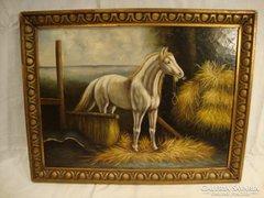 Ló az istálóban olaj - fa festmény
