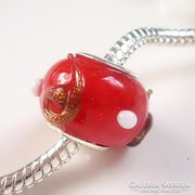 Muranoi, kézzel festett üveg pandora gyöngy ME-PA09-5