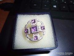 Design ezüst gyűrű / ametiszt
