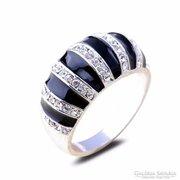 Fekete-fehér csíkos gyűrű 8-as ÚJ!