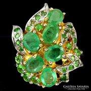 Valodi Brazil Smaragd, 925 Ezust 14K Aranyozasu Gyuru