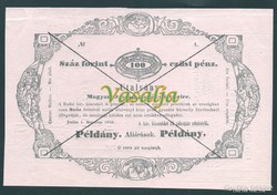 100 Forint ( Gulden )  Almássy 1849 UNC Pédány ( Minta)