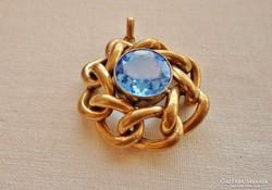 Szép antik nagy medál akvamarinnal