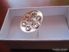 Minimalista sterling ezüst gyűrű 7 kunzittal