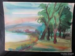 MOSSHAMMER GYÖRGY Jelzett festmény BADACSONY 1950