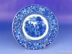 0F140 Antik jelenetes angol porcelán falitányér