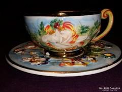 Antik Capodimonte szecessziós fajansz teáscsésze + alj