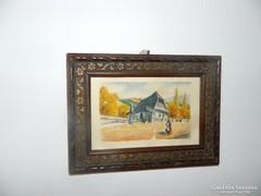 Zámbor - akvarell festmény, szép antik keretben