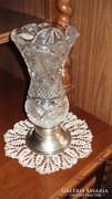 Csodaszép antik ólomkristály váza ezüst talpon