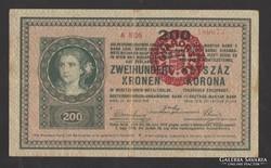 200 korona 1918. Magyarország fb.! 2000 alatti, sima hátlap!