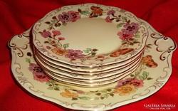 Zsolnay lepkés-pillangós süteményes készlet.