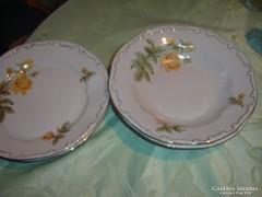 Zsolnay sárga rózsás tányérok