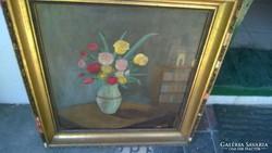 Balázs ? 1952 festmény: Virágcsendélet