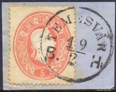 1861.OPM. 5 kr., TEMESVÁR B.H. bélyegzés,
