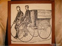 Francia postások  antik tus papír 43x43cm