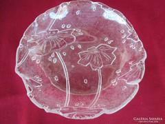 Virág mintás üveg kínáló 17 cm    0506
