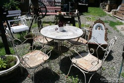 Kerti bútor garnitúra vasból (asztal, 4 szék)