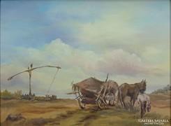 0G278 Jelzett olaj festmény életkép a pusztán