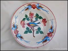 Antik madaras falitányér  , cseréptányér
