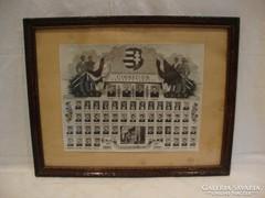 Üvegezett fa képkeret fotóval tabló '1949