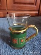 Üveg teás pohár aranyozott füllel