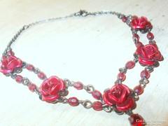 Vörös Rózsa Gránát köves Kézműves  Bokalánc