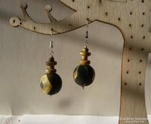 Retro fából készült fülbevaló