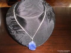 Ezüst nyaklánc exra nagy Zafír kővel