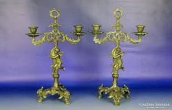 0G454 Antik angyalos asztali gyertyatartó pár