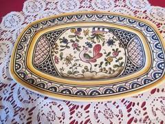 C001 Kézzel festett portugál kerámia kínáló tál 21x15 cm