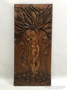 Kézzel faragott fa relief, dombormű