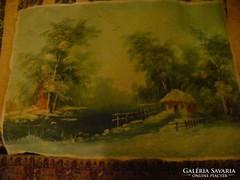 Antik szép olajfestmény, tájkép