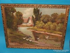 Festmény tájkép ábrázolással