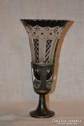 Ezüstözött fém talpas váza  ( DBZ0060 )
