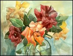 Festmény, virág csendélet