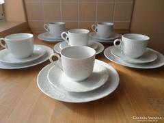 Mitterteich Bavaria 6 szem. fehér porcelán reggeliző szettek