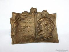 Petőfi Sándor bronz plasztika ,tál