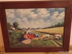 Szignált olaj vászon festmény keretezve