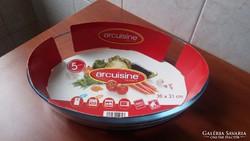 Eladó a képen látható új üveg ovális sütőtál
